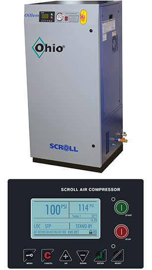 Enclosed Oil-less Rotary Scroll Air Compressors (Simplex)